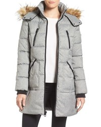 GUESS Expedition Quilted Parka With Faux Fur Trim