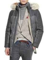 Brunello Cucinelli Mixed Media Quilted Parka Wfur Trim Hood Lead