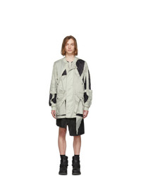 Rick Owens Off White And Black Cut Out Bomber Jacket