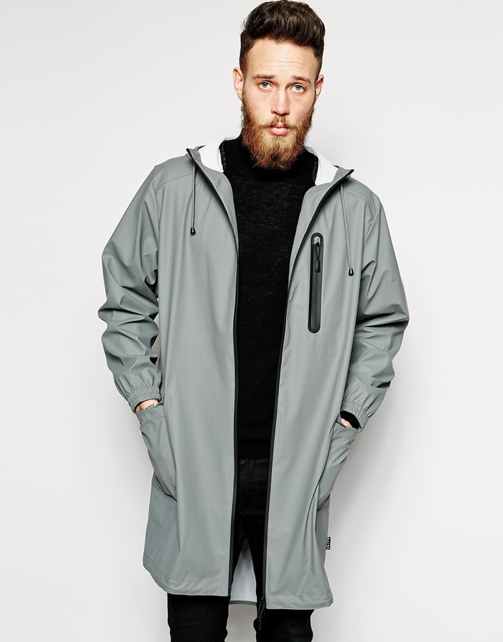 Rains Grey Parka Jacket