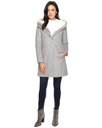 Cole Haan Striccato Wool Hooded Parka W Faux Fur