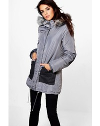 Boohoo Tia Parka With Contrast Pockets