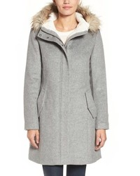 Cole Haan Wool Parka With Faux Fur Trim