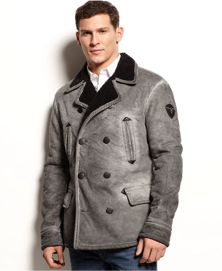 Armani Jeans Faux Shearling Peacoat | Where to buy &amp how to wear