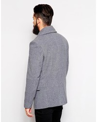 Men's Grey Pea Coat from Asos | Lookastic for Men
