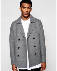 Asos Brand Wool Peacoat In Gray