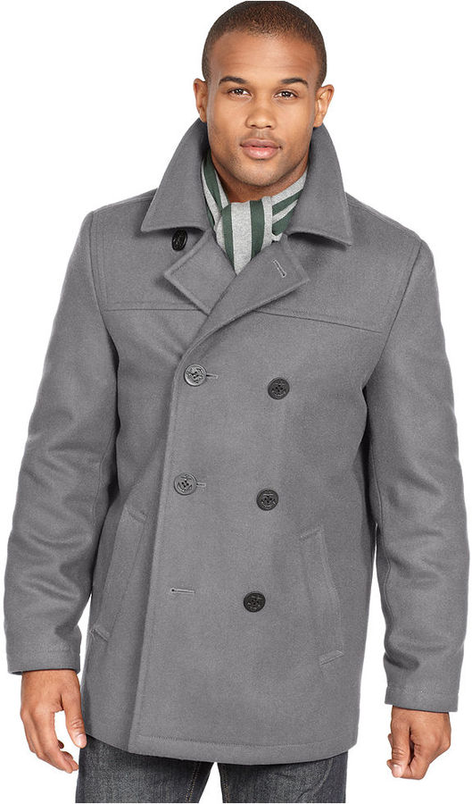 Tommy Hilfiger Coat Melton Wool Blend Peacoat | Where to buy & how ...