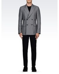 Emporio Armani Wool Broadcloth Pea Coat With Patch Pockets