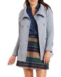 Funnel Neck Fleece Pea Coat