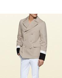 Gucci Cotton Gabardine Marine Jacket With Striped Cuffs