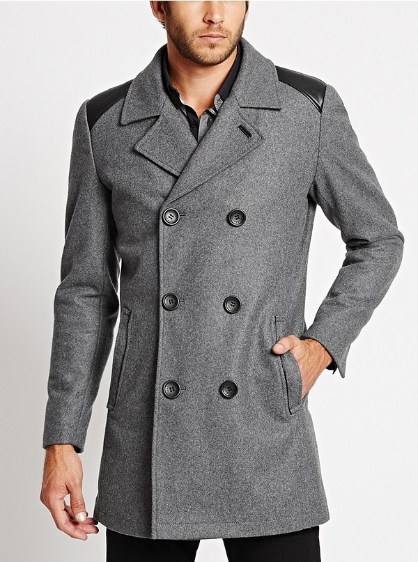 GUESS Double Breasted Wool Blend Peacoat | Where to buy &amp how to wear