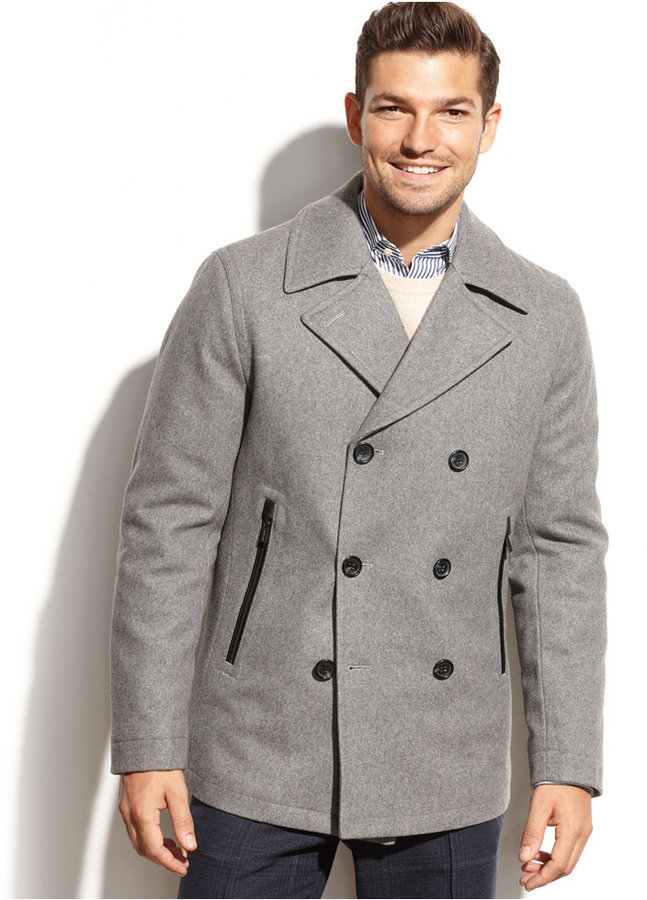 0db8f154dba21 MICHAEL Michael Kors Michl Michl Kors Derby Wool Blend Pea Coat .