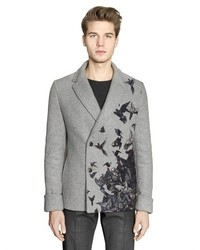 Salvatore Ferragamo Bird Printed Double Wool Peacoat