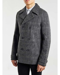 Topman Check Wool Blend Peacoat