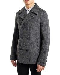 Topman Glen Plaid Wool Blend Peacoat
