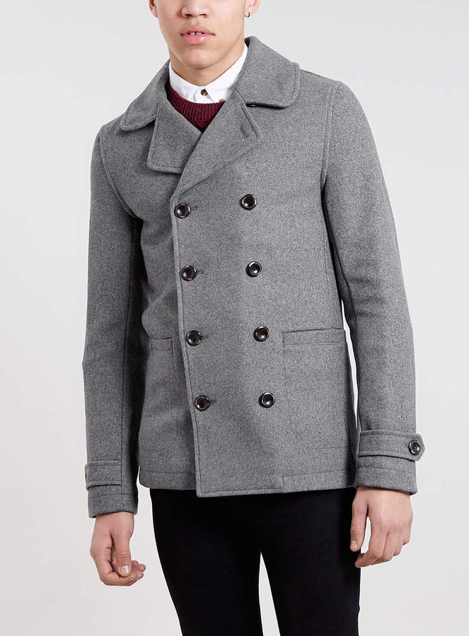 Topman Grey Wool Blend Skinny Pea Coat | Where to buy & how to wear