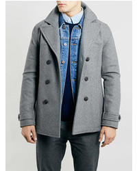 Topman Grey Wool Blend Slim Peacoat