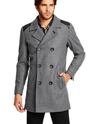 GUESS Wool Blend Double Breasted Peacoat