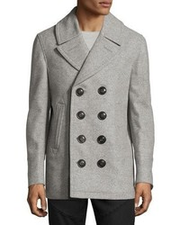 Wool cashmere pea coat gray medium 1019220