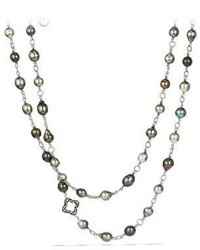 David Yurman Bead And Chain Necklace With Pearls And Diamonds