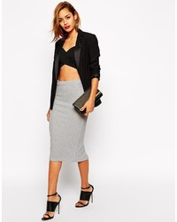Asos Collection Midi Pencil Skirt In Heavy Rib