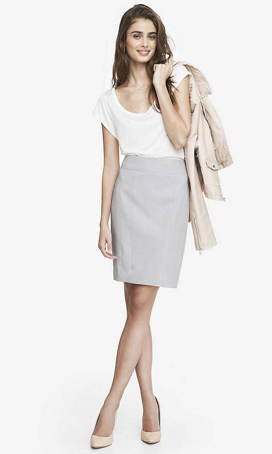 Grey Pencil Skirt - Skirts