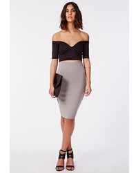 Missguided Candace Scuba Midi Skirt Grey