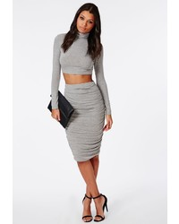 Missguided Ruched Seam Midi Skirt Grey