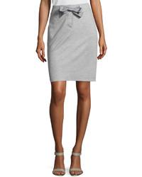 Narrow drawstring pencil skirt gray medium 121767