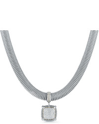 Alor Spring Coil Cable Diamond Pendant Necklace Gray 067 Tdcw