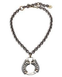 Lanvin Chain Crystal Pendant Necklace