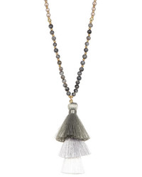 Panacea Long Beaded Necklace With Stacked Tassel Pendant
