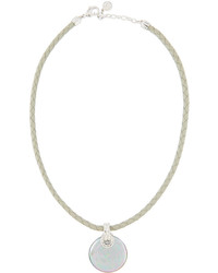 Majorica Storm Braided Leather Coin Pearl Pendant Necklace Gray