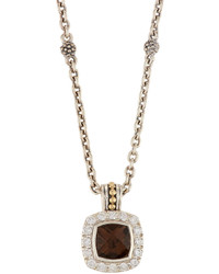Lagos Prism Smoky Quartz Diamond Pendant Necklace