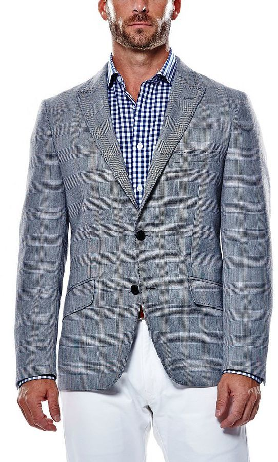 Haggar Mens Plaid Tailored Fit Sport Coat Business Casual Blazer