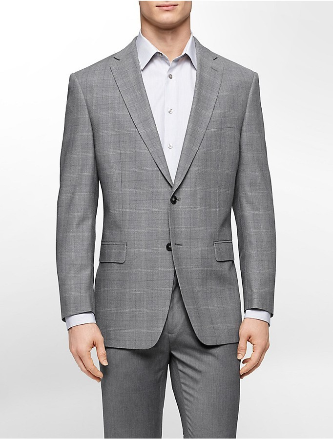 Calvin Klein Classic Fit Grey Check Sports Jacket | Where to buy ...