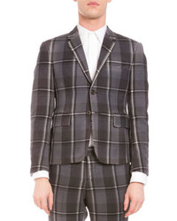 Thom Browne Distressed Plaid Two Button Wool Jacket Medium Gray