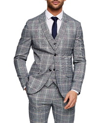 Topman Glen Plaid Skinny Fit Suit Jacket