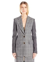Harbison Plaid Blocked Blazer 10 Grey