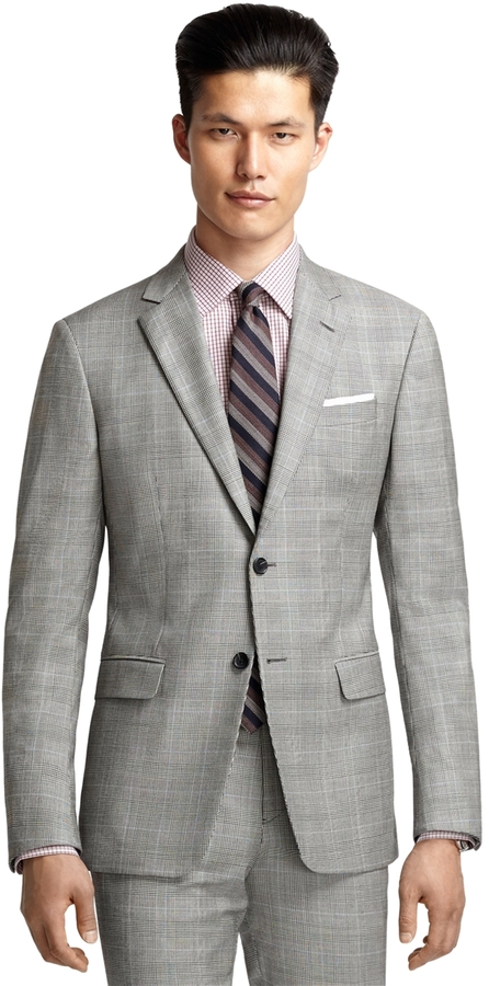 Brooks Brothers Milano Fit Black And White Plaid With Blue Deco ...