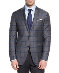 Ermenegildo Zegna Plaid Light Trofeo Wool Two Button Sport Coat Grayblue
