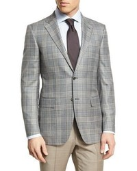 Ermenegildo Zegna Plaid Two Button Sport Coat Graycamel