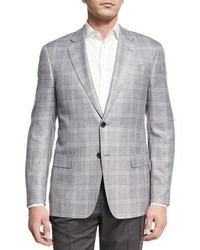 Plaid two button sport coat light silvergray medium 4991757