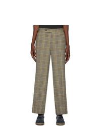 Needles Beige Graph Plaid Side Tab Trousers