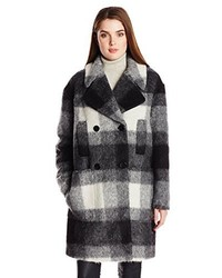 7 For All Mankind Mohair Double Breasted Plaid Cocoon Coat
