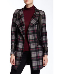 A Moss Leather Trim Plaid Coat