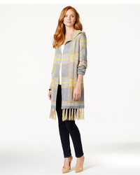 All Once Hooded Plaid Sweater Coat