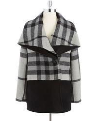 Badgley Mischka Molly Plaid Colorblock Coat