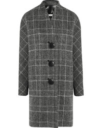 Balenciaga Checked Brushed Wool Blend Coat