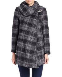 Betsey Johnson Plaid Asymmetrical Wrap Coat